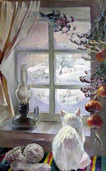 snow. cat. winter. window