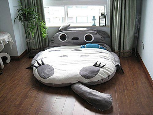 Totoro Double Bed Sleeping Bag Pad Sofa Bed Mattress for both kids Or Adult (Grey, 6.5 6ft)