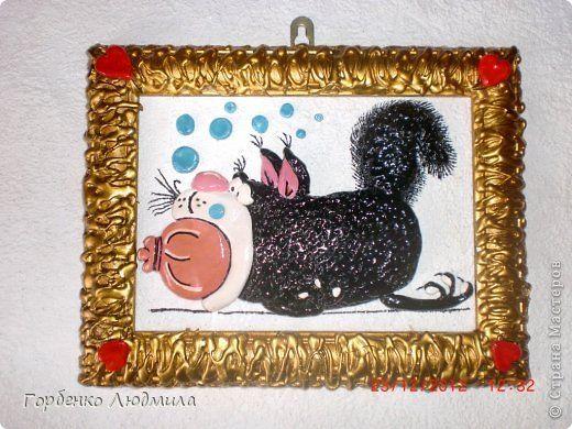 Картина панно рисунок Лепка Повторялки - кот и домовой Акварель Гуашь Тесто соленое фото 7