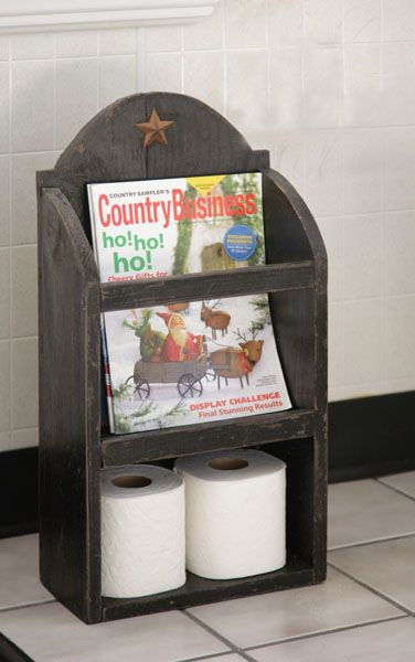 Primitive Wood Craft Magazines | Primitive Country Farmhouse Black Toilet Paper Magazine Rack Star ...