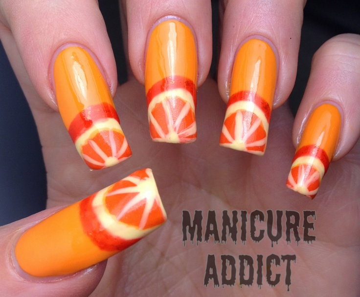 Orange Nail Art    Nails are too long for my taste, but cool design!