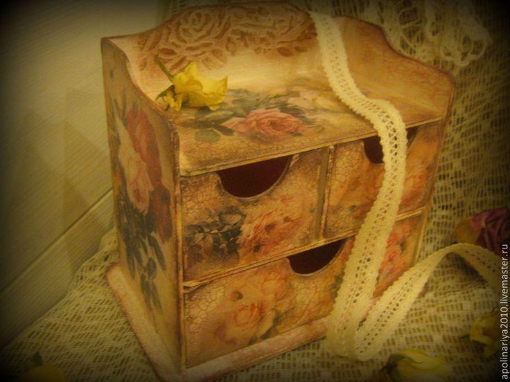 """Купить Комод """"Rose De Provence"""" - бледно-розовый, мини комод, мини комодик, Декупаж"""