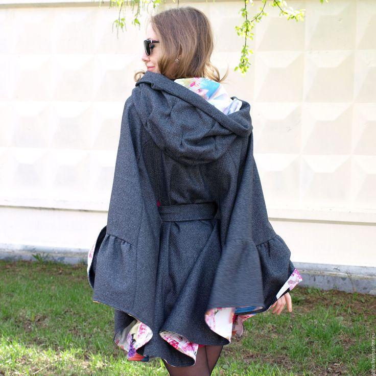 Купить Облегченное пончо с капюшоном - серый, пальто, мода для полных, одежда для беременных, кружево, шерсть