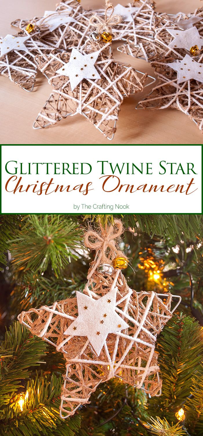 This cute and rustic Glittered Twine Star Christmas Ornament will Add some glam to your Christmas tree. Easy to make so much rustic style!