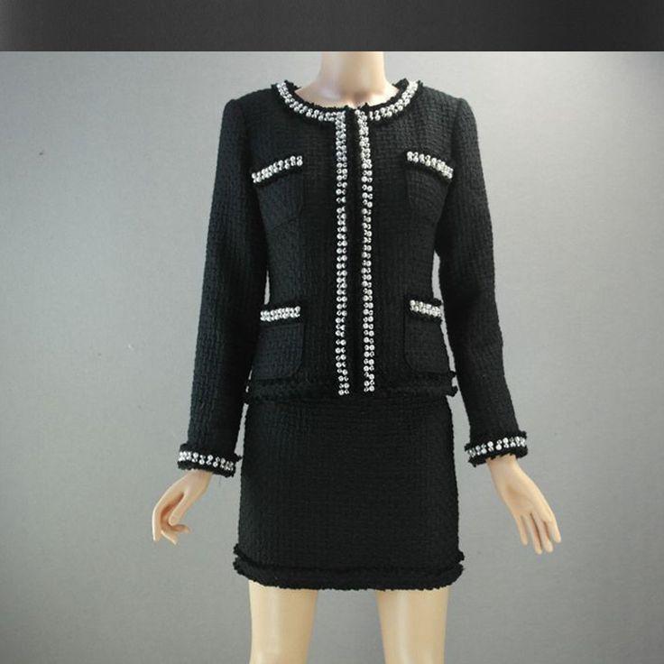Черный/белый твидовый пиджак + юбка костюм тяжелое вышитый бисером 2017 осень/зима женская шерстяная куртка дамы твид юбки костюм купить на AliExpress