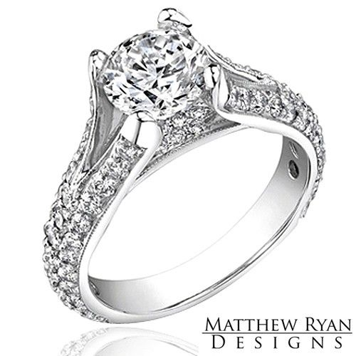 Amazing Matthew Ryan Design Diamond Engagement Ring MRD Diamond Engagement Ring KT White Gold