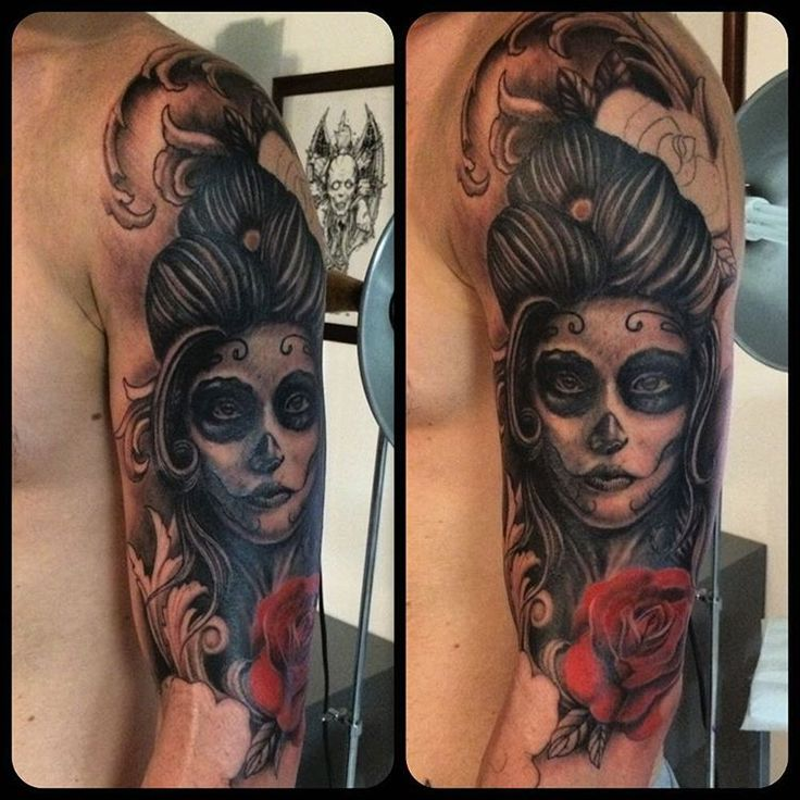 Tattoo in progress #catrina #draw #rose