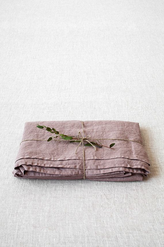 Ashes of Roses Stone Washed Linen Flat Bed от LinenTalesInBed