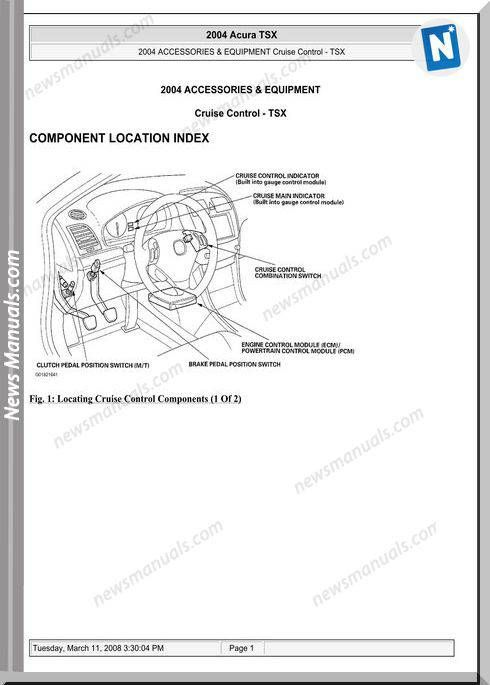 Acura Tsx Cruise Control Repair Manual | Repair Manual on