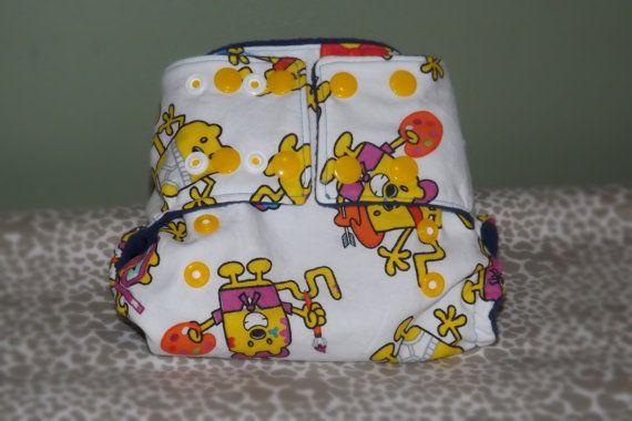 Small Pocket Cloth Diaper Wow Wow Wubbzy yellow fun by PeepOoie, $20.00