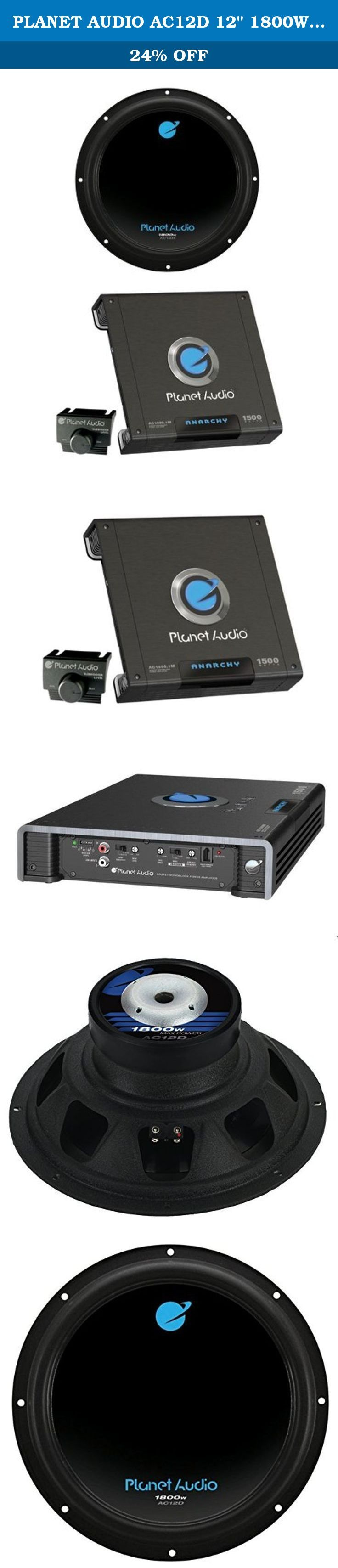 "PLANET AUDIO AC12D 12"" 1800W Car Audio Subwoofer + AC15001M 1500W MONO Amplifier. Package Includes: 1 x Planet Audio AC12D 12"" 1800W Car Subwoofers 1 x Planet Audio AC15001M 1500W Mono Car Amplifier ----- The PLANET AUDIO AC12D 12"" 1800W Dual 4-Ohm Voice Coil Car Audio Subwoofer can handle 1800 Watts of MAX power and 900 Watts of RMS power. Thump your car audio system with these AC12D subwoofers! The PLANET AUDIO AC1500.1M 1500W MONOBLOCK Car Audio Amplifier can handle 1500 Watts of MAX..."