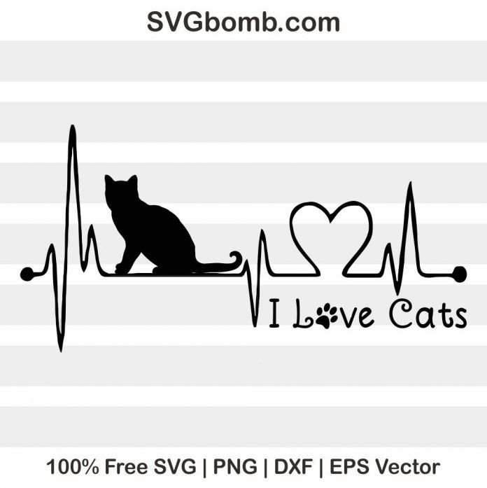 Download Free I Love Cat SVG Vector Image   Paw print art, Cats ...