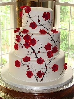 Cherry Blossom Cake. Elegant, but wished the blossoms were actually pink not red. :)