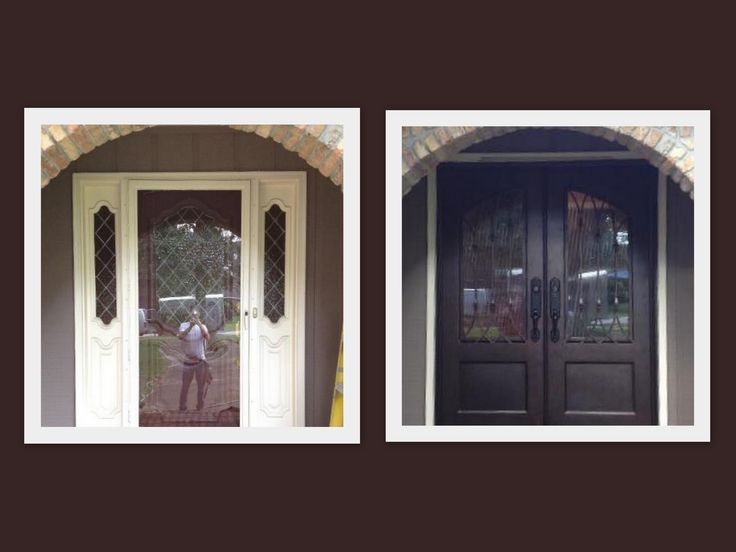 Love this transition from a single wood door with sidelights, to a beautiful double iron door. What a difference! before and after. doors. iron doors. entryway.