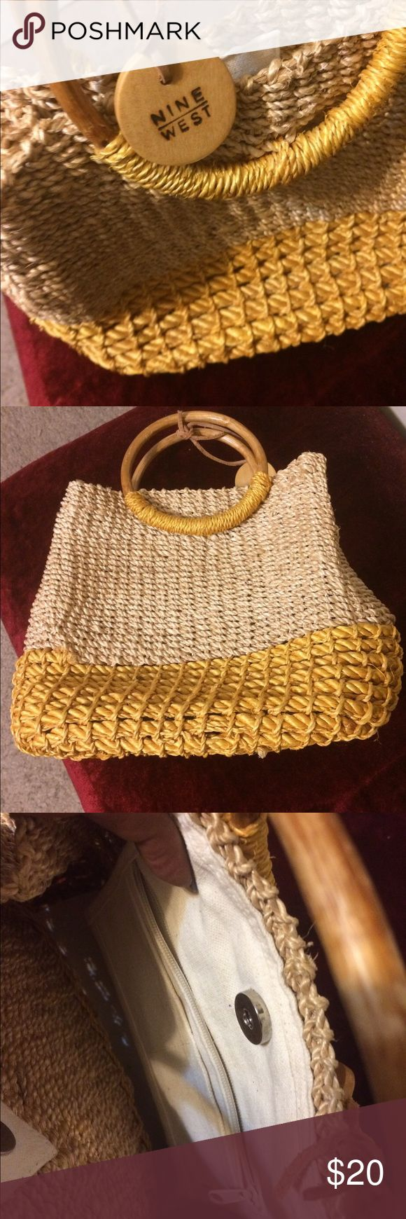 Summer Purse High quality straw as seen in pic; used once! Lightweight and spacious for size🌴🌼👌 Nine West Bags Mini Bags
