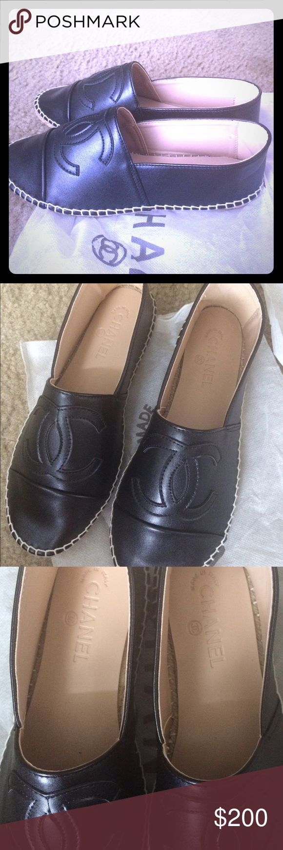 Black eel leather espadrilles Brand spanking new black eel leather Chanel espadrilles,never worn as it runs small,my daughter is 7.5 but they fit 6.5 unfortunately. In dust bags. No box due to relocation she ordered online and didn't try on for size. Chanel Shoes Espadrilles