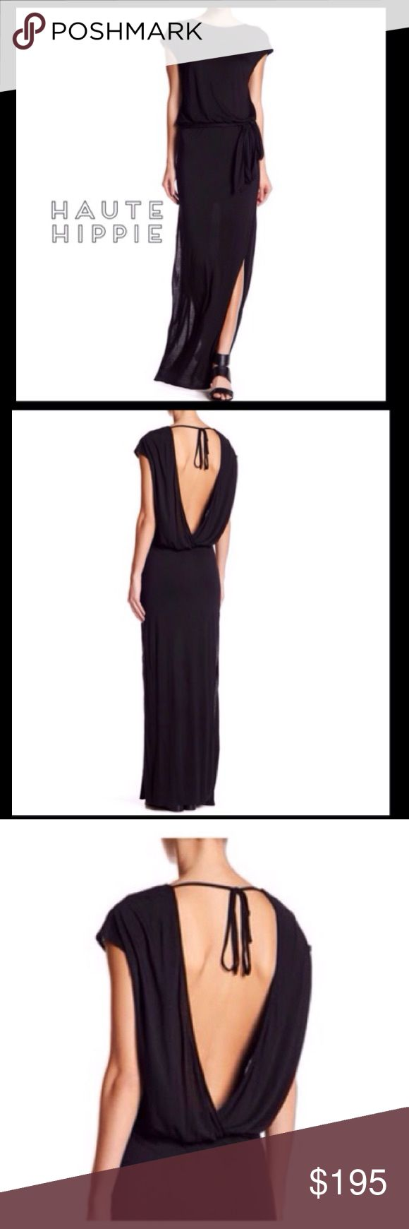 """Haute Hippie Back in Black Dress Date night? show off some skin in this elegantly draped dress. Boatneck, short sleeve, open draped back w/ tie closure. Detachable waist tie, knit construction, side vents. Approx. 68"""" long. 100% modal. Haute Hippie Dresses Backless"""