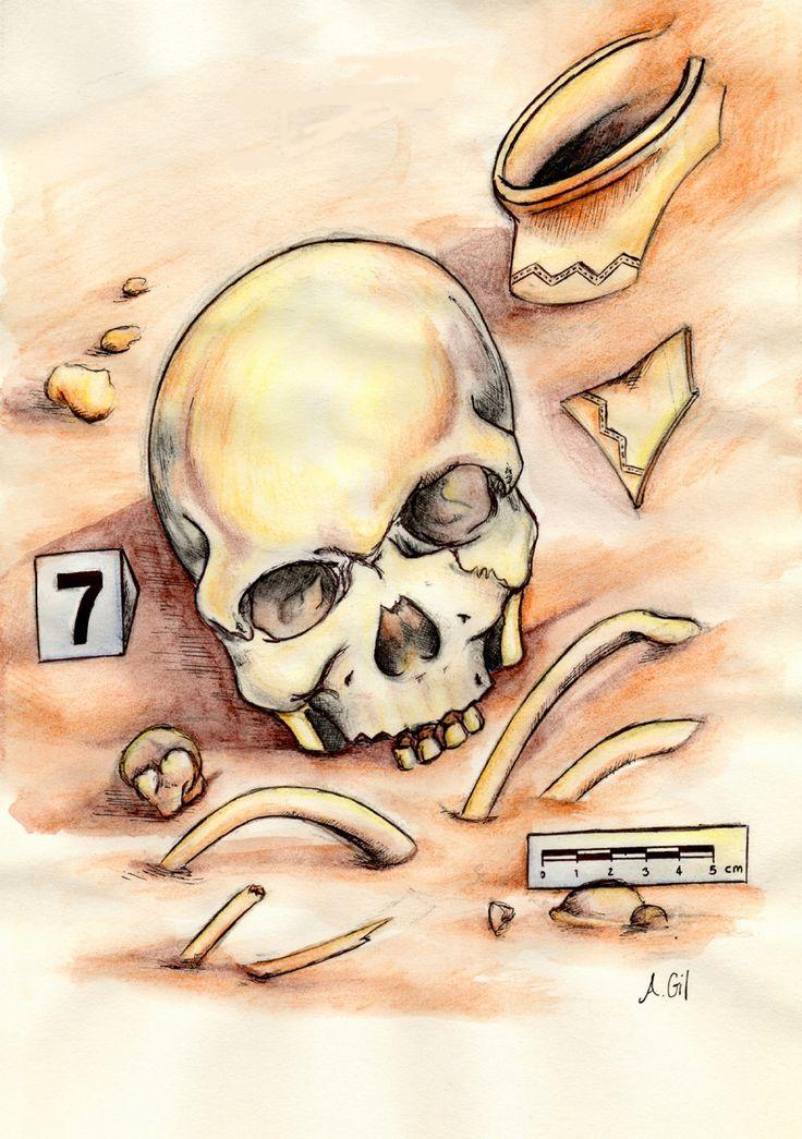 Ilustración de Andrea Gil para el artículo de Teresa Pons en Principia sobre antropologia forense
