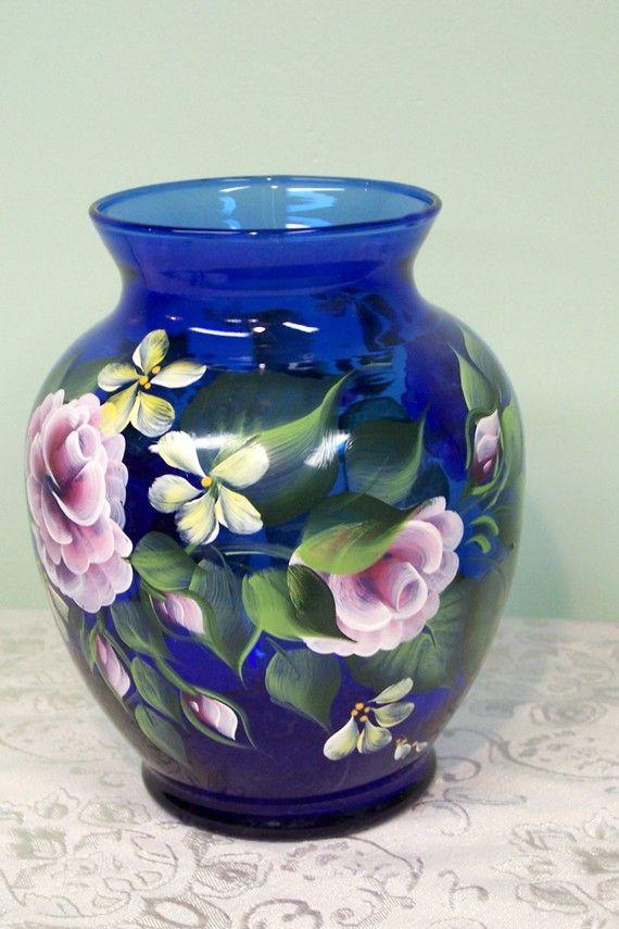 Cobolt Blue Vase with Painted Pink Roses and by BonnysBoutique