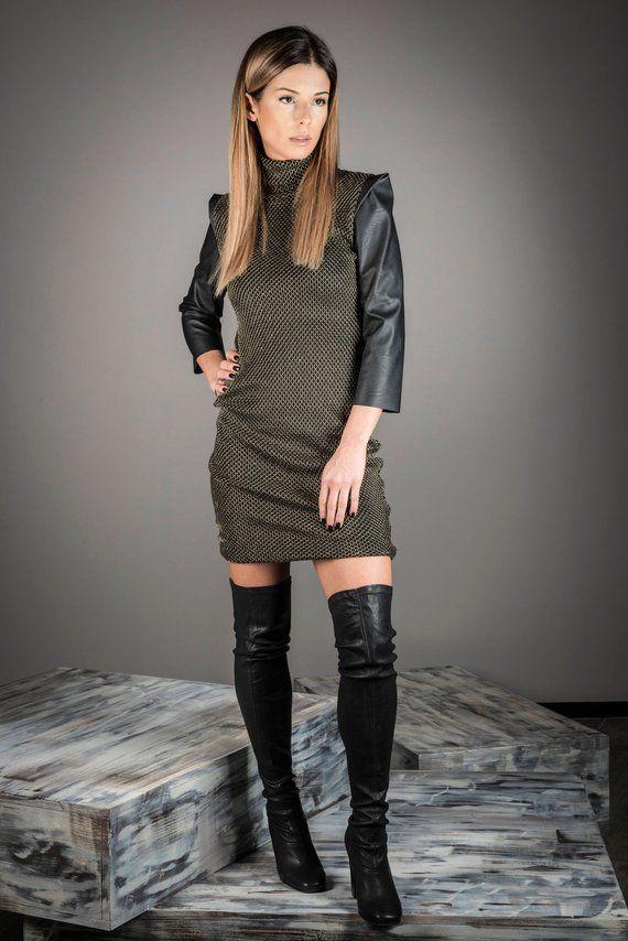 Leather Dress, Women Black Dress, Short
