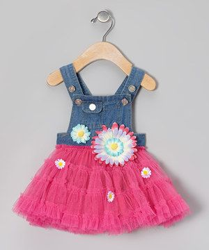 I have got to have this for my sweet girl!!! In love!!!  Fuchsia & Denim Overalls Tutu Dress - Infant & Toddler by Little Mass #zulily #zulilyfinds