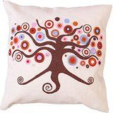 "Add a natural touch to your decor with the ""Indian Tree"" cushion cover. It is hand crafted with rich Indian Zari art. This cushion cover is ideal for both the bedroom and living room. In fact, it makes a lovely gift for friends as well."