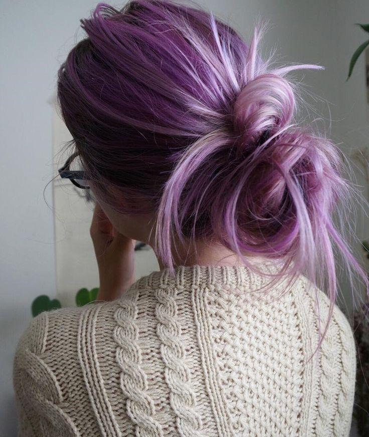 Pastel Lavender Hair Dye with bun haircut by aliencreature - #haircolor #hairdye #hairstyle