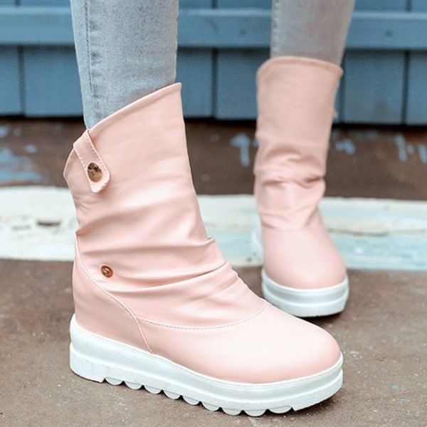 Sweet Women's Short Boots With Solid Colour and Increased Internal Design #shoes, #jewelry, #women, #men, #hats, #watches