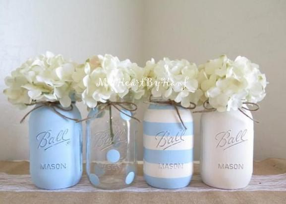 Baby Blue Baby Shower Decorations, Baby Shower Mason Jars, White And Blue  Shower,