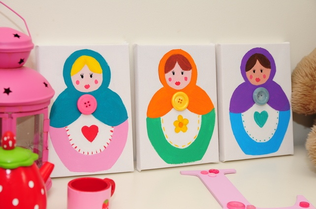 Original Russian Doll Box Canvas Set of 3... - Folksy