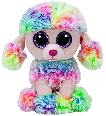 TY 37223 Glub Schi's Beanie Boo's Rainbow Glitter Eye Pink Poodle, 15 cm, Multi-Coloured
