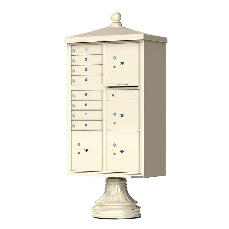 1570 Series 8 Mailboxes, 1 Outgoing, 4 Parcel Lockers, Vital Cluster Box Unit with Vogue Traditional Accessories,