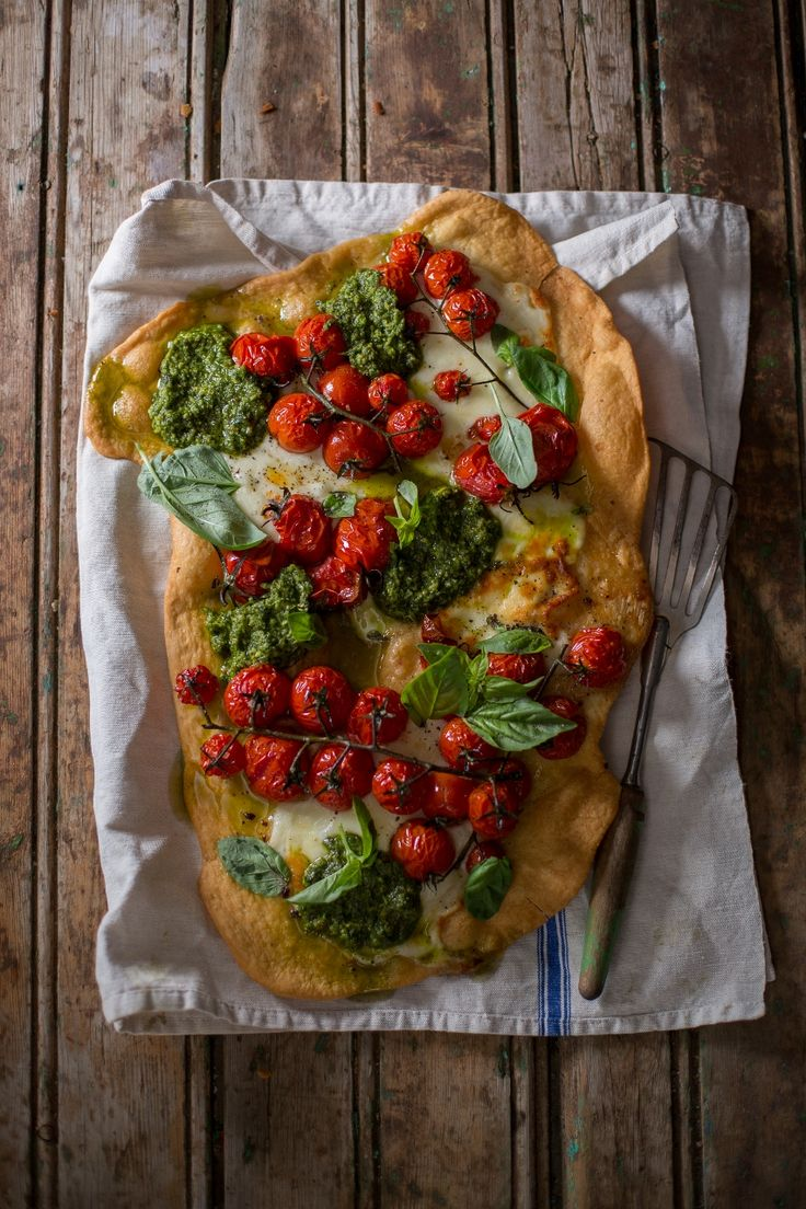 You can never go wrong with this classic combination. #vinetomatoes with #basilpesto, #basil and #mozzarella.