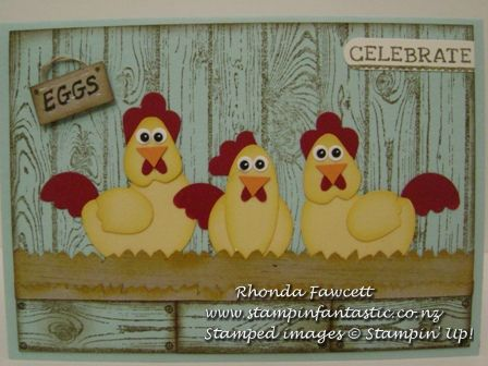 Chickens Fun: punch art chickens. They use a variety of Stampin' Up! punches including a couple of retired punches.