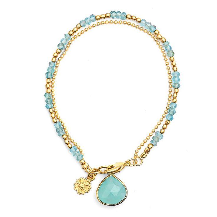 'Charissa' Gold Aqua Bracelet  | Azuni London Jewellery www.azuni.co.uk