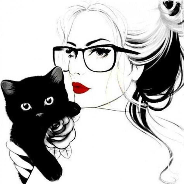Картинка 900x900 | Черно-белый рисунок с девушкой и котенком на руках | Животные, Девушки, фото