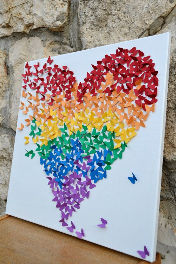 LARGE 3D Butterfly Art / Butterfly Rainbow Heart / by RonandNoy, $210.00
