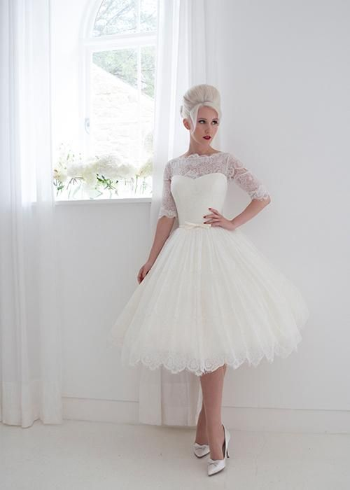 Wedding Dresses For Plus Size House Of Mooshki 2015 Wedding Dresses Full Lace Tea Length Bridal Gown With Elbow Lace Sleeves And Sheer Illusion Back Panels And Neckline Vintage Inspired Wedding Dresses From Nicedressonline, $103.25| Dhgate.Com
