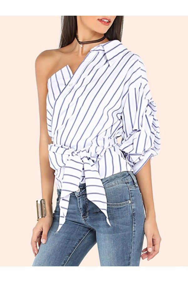 1f7e4f481 Blue White Stripe Pattern One Shoulder Knotted Sexy Top #033193 @ Womens  Shirts & Blouses,Women Shirts,Cheap Button Down Shirts,Long Sleeve  Shirts,Blouses ...