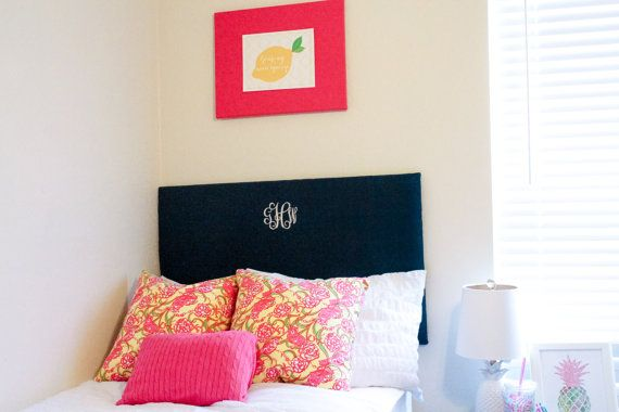 Monogram Dorm Headboard Linen fabric and Stitched by GrayWhaleHome