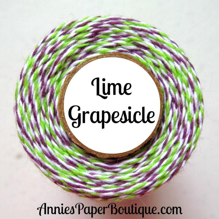 Lime Grapesicle - lime green, white, and purple bakers twine - Halloween bakers twine