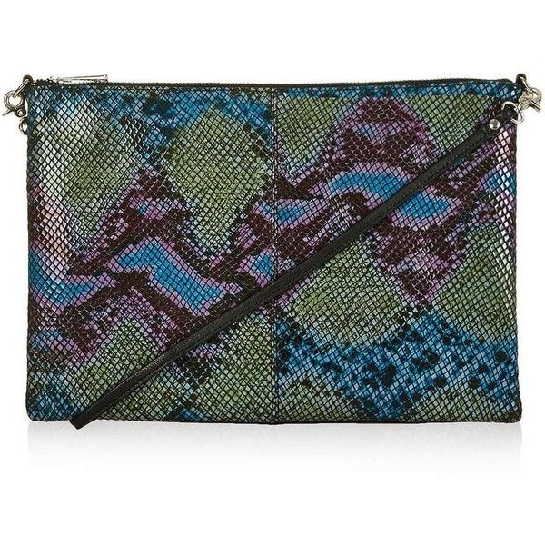 Topshop Leather Snake Zip Top Clutch ($19) found on Polyvore featuring women's fashion, bags, handbags, clutches, leather strap purse, snake leather handbags, snake purse, python leather handbags and topshop handbags