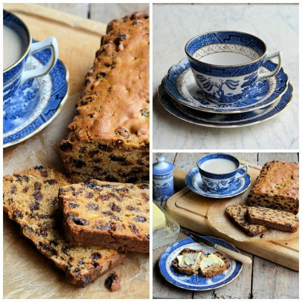 """Vintage Blue and White on Sepia Sunday: Farmhouse """"Teacup"""" Spiced Fruit Loaf Recipe"""