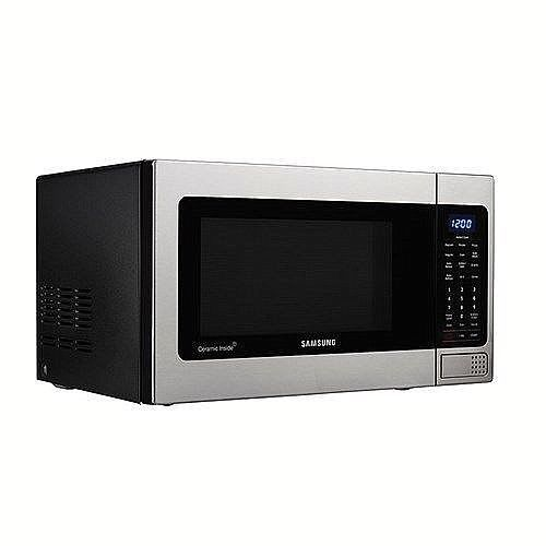 Easy Clean Microwave Oven Samsung 1.1 Cu Ft With Ceramic Enamel Interior New #Samsung