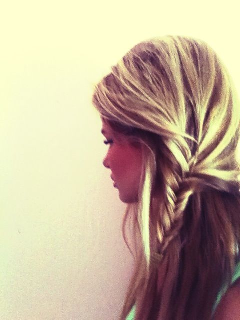 half-up side fishtail braid.: Hairstyles, Side Fishtail, Hair Styles, Half Up Side, Makeup, Fishtail Braids, Side Braids, Hair Color