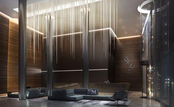 condo tower wine lobby interior design - Google Search