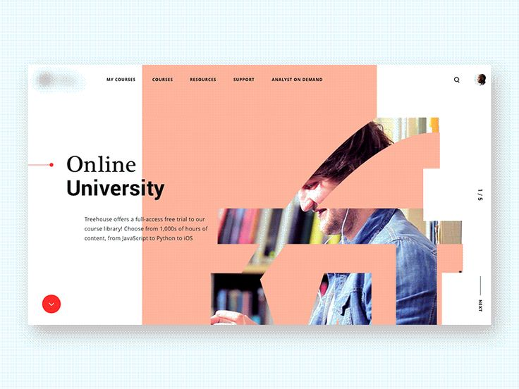 Online University by Cuberto - I do really like the idea of side panes that have scroll down for more information. Also dotted pattern in background helps convey that you expanded a new section without being to dramatic.