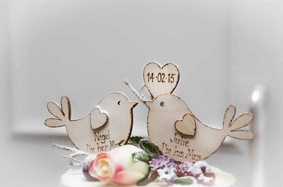 Personalised Rustic Wedding Cake Topper Bird Cake by Melysweddings