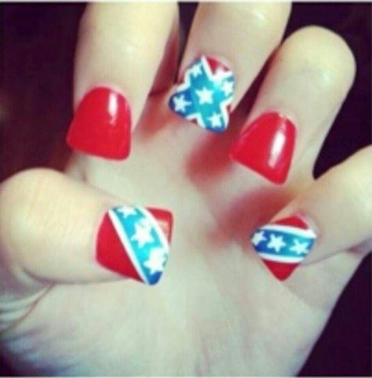 Rebel flag nails - 8 Best Images About Nails On Pinterest