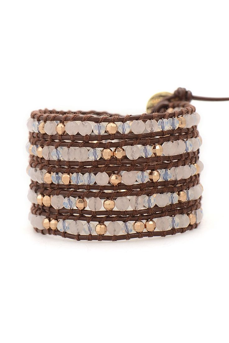 Wrap Bracelet  Rose Gold Quartz On Brown Leather